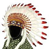 Indianer-Kopfschmuck Häuptling, weiße Federn mit roten Spitzen und schwarzen Punkten -