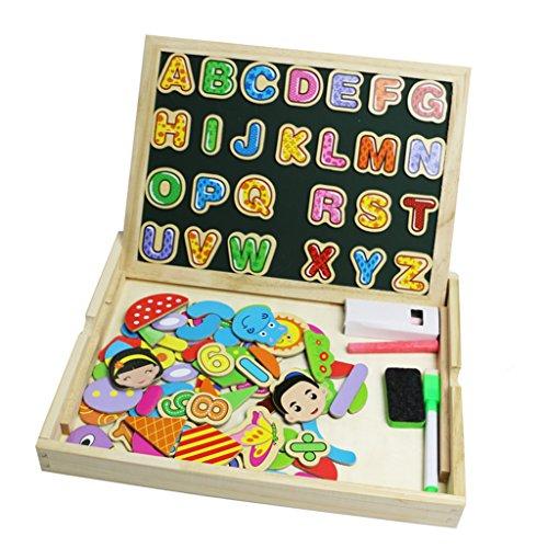 YIXN Magnética de Madera Tablero de Dibujo con Letras los Números 90 Pedazos