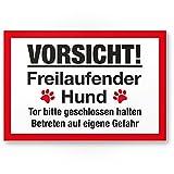 Vorsicht freilaufender Hund (weiß-rot) - Hunde PVC Schild, Hinweisschild Gartentor/Gartenzaun - Türschild Haustüre, Warnschild Abschreckung und Einbruchschutz - Achtung Hund