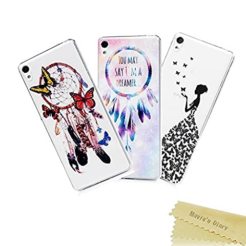 [3-Pack] Mavis's Diary Xperia XA Cover ,Sony Xperia XA Case - 3 Pcs Clear Soft Flexible TPU Silicone Rubber Skin Bumper Cover Shock-Absorption Slim Fit Ultra Thin Stylish Colorful Prints Protective Cover Pack of 3 - Group