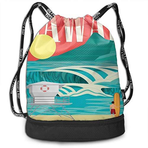 Multipurpose Drawstring Bag for Men & Women, Hawaii Sandy Coastline Sunny Day Surfboard Tropics Famous Honeymoon Destination,Tote Sack Large Storage Sackpack for Gym Travel Hiking