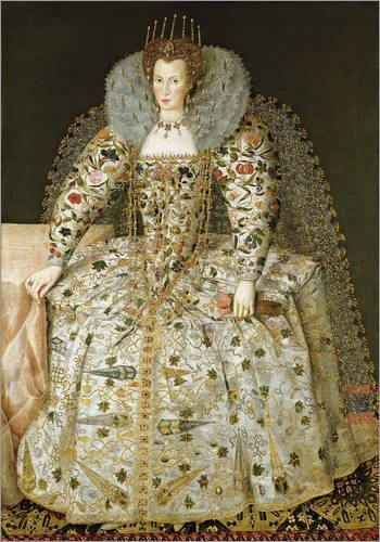 Holzbild 60 x 80 cm: Porträt Einer Dame von English School/Bridgeman Images