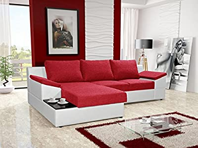 ORPHEUS red and white faux leather fabric large corner sofa bed with storage sleeping area coffee side tea table living room furniture couches sofa beds by KRK