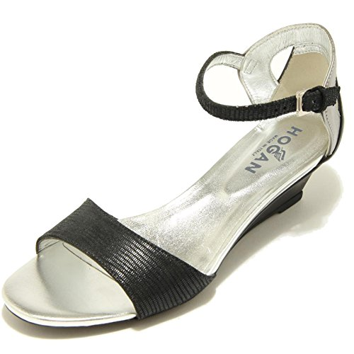 7003F sandalo HOGAN ZEPPA H 230 FASCIA DAVANTI CINTURINO scarpa donn shoes women Nero/Grigio