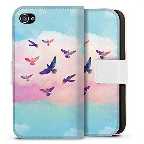 Apple iPhone X Silikon Hülle Case Schutzhülle Vögel Himmel pinke Wolke Sideflip Tasche weiß