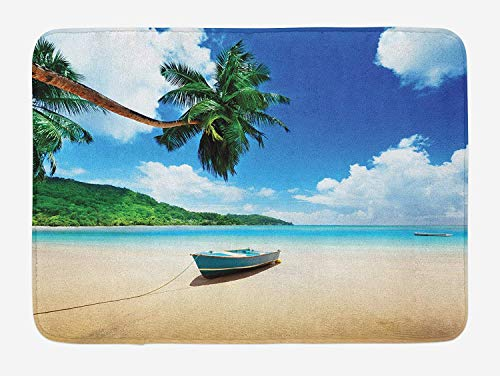 tgyew Beach Bath Mat, Boat On The Beach Mahe Island Lagoon Seychelles Exotic Shoreline Image, Plush Bathroom Decor Mat with Non Slip Backing, 23.6 W X 15.7 W Inches, Blue Green Sand Brown Shoreline Fällen