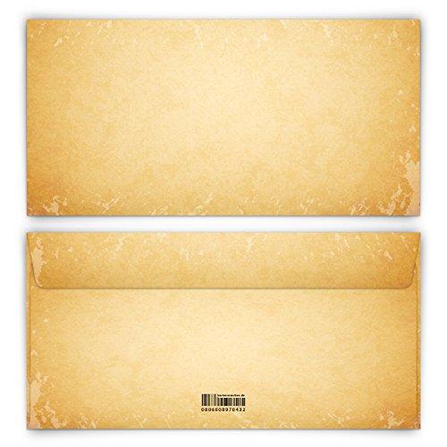 Briefumschläge 20 Stück DIN-Lang - Vintage für Einladungskarten alt Kuvert Briefumschlag selbstklebend ohne Fenster