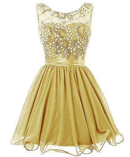 Poplarboy Damen Kurz A-Linie Cocktail Kleid Rundhals Perlstickerei Kristalle Chiffon Ball Kleider Party Kleid mit Strass Champagner