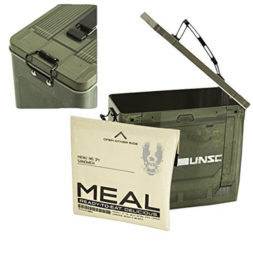 Halo UNSC Ammo Crate Tin Lunch Box and Resuable Sandwich Pouch by Halo