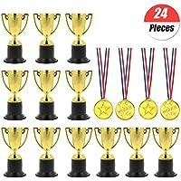 YuChiSX 24 Pcs Award Trophies Medals Set,12 Pcs Winner Award Trophies Mini Plastic Trophy Cups,12 Pcs Winner Medals for Party Bag Fillers