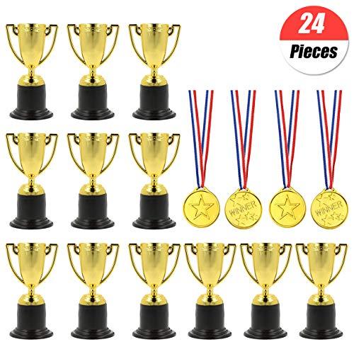 YuChiSX 24 Pezzi Medaglie da Trofeo,12 x Piccoli trofei di plastica Oro,12 x Medaglie per Bambini Winners Medaglie per Borse da Party/Premi in Classe/Giocattoli di Compleanno/premi Kid Party Sports