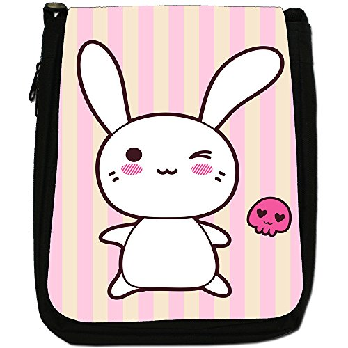 Funny & Cute Kawaii rosa conigli Medium Nero Borsa In Tela, taglia M Winking Kawaii Rabbit