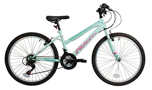 FALCON Kinder-Mountainbike Aurora, grün und pink, Stahlrahmen 33 cm, 18 Gänge vorne und hinten, V-Brake-Bremse, Reifenprofil: 4,95 cm breit -