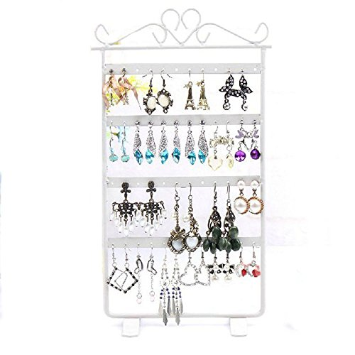 Sannysis 48-Loch-Ohrring Display Rack Metall Stand Inhaber Showcase (weiß) (Metall-lippenstift-rack)