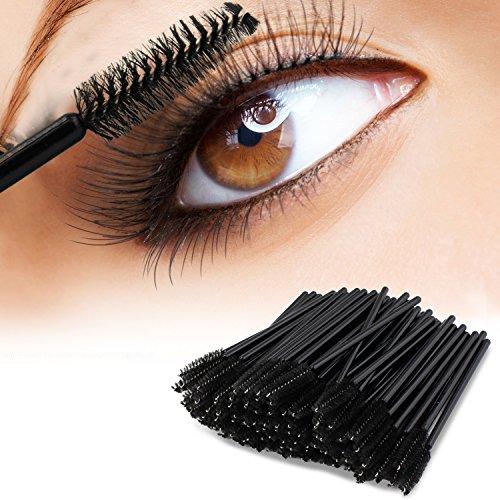 PsmGoods 100PCS Einweg schwarzen Wimpern Mascara Zauberstab-Bürsten-Kosmetik-Bürsten-Augen-Wands (Schwarz)
