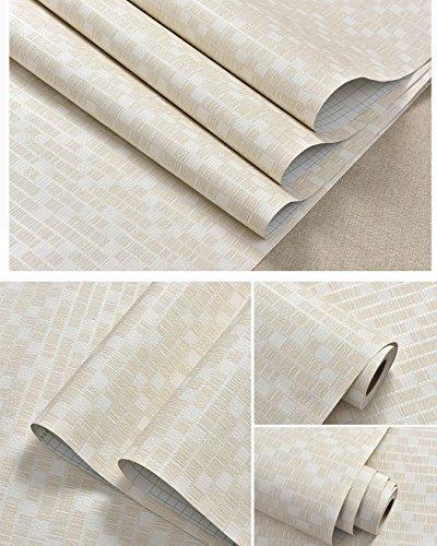 glow4u schälen und Stick Faux grasscloth Muster Vinyl Tapete Rolle selbstklebend Leinen Kontakt Papier für Wohnzimmer Schlafzimmer Wand Arts Crafts Aufkleber, beige (Regal-land Bücherregal 5)