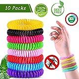 Mosller Mückenschutz Armband 10 Stück, Reusable Natürlicher DEET-freier Insektenschutz-Armband, Sicheres Wasserdichtes Wristband für Kinder Erwachsene Indoor Outdoor