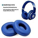 Ersatz Ohrpolster Blau WADEO drahtlose Kopfhörer Ear Cushion Replacement für Beats Solo 2 Leder Memory Foam Ohr Polsterfür Kopfhörer