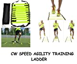 #1: CW 6 Meter Speed Agility Exercise Workout Training Ladder Nylon Straps With 12 Adjustable Rungs Constructed Heavy Duty Footwork ,Exercise ,Intensity Workout all Sports Support ,Improve Strength Ladder