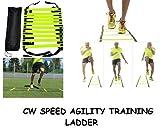 CW, 8m velocidad agilidad escalera para entrenamiento correas de nailon con 12ajustable peldaños construido Heavy Duty juego de piernas, ejercicio, entrenamiento intensidad todos los deportes apoyo, mejorar la fuerza escalera