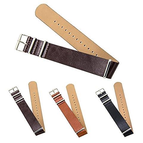 "CIVO Premium Bracelet Cuir Nato Bracelet de Montre Zulu Militaire Swiss G10 Bande de Cuir 18mm 20mm 22mm Standard & Extra Long (Dark Brown, 20mm - Long (11""))"