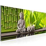 Bilder Feng-Shui Wandbild Vlies - Leinwand Bild XXL Format Wandbilder Wohnzimmer Wohnung Deko Kunstdrucke Grün 1 Teilig -100% MADE IN GERMANY - Fertig zum Aufhängen 010112a
