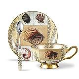 Panbado 3-teilig Kaffee Set aus Fine Bone China Porzellan, 200 ml Kaffeetasse mit Untertasse und Löffel