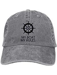 Rghkjlp My Boat My Rules Gorra de Vaquero de béisbol Ajustable de algodón  teñido ... a85d6656be0