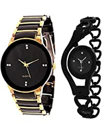 Tutile Analogue Round Black And Gold Dial Metal Chain Strap Combo Wrist Watches For Men & Women