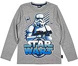 Star Wars Langarmshirt Jungen Shirt Stormtrooper (Grau, 140)