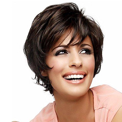 Asifen parrucche corti a strati con frangia lato naturale dei capelli umani parrucche per le donne