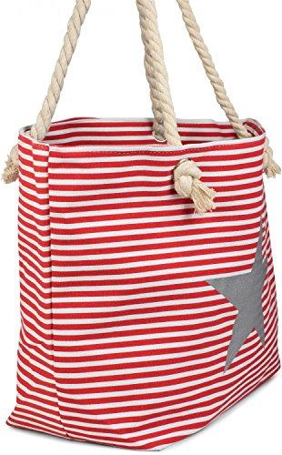 styleBREAKER Strandtasche XXL in Streifen Optik mit Stern Print und Reißverschluss, Shopper, Badetasche, Damen 02012165, Farbe:Blau-Weiß / Silber Rot-Weiß / Silber
