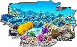 DesFoli Fische Meer Korallen Fish 3D Look Wandtattoo 70 x 115 cm Wanddurchbruch Wandbild Sticker Aufkleber C150