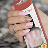 Shimmer Glitzer Acryl Nail Tipps Pink Farbe 28Stück kurz Full-Cover Fake Nägel Art UV Gel DIY Frauen Finger Patch Werkzeug Z842
