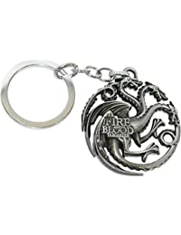 Gratitude Game Of Thrones Fire & Blood Targaryen Grey Metallic Keychain / Key Chain / Keyring / Key Ring