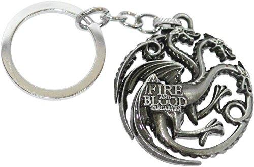 Gratitude Game Of Thrones Fire & Blood Targaryen Grey Metallic Keychain / Key Chain / Keyring / Key Ring