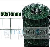 ROTOLO 25mt RECINZIONE RETE METALLICA ZINCATA PLASTIFICATA - MAGLIA:mm75X50 -DIAMETRO FILO:mm2,2 - ALTEZZA RETE: 150 cm