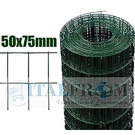 ITALFROM Rotolo 25mt Recinzione Rete Metallica Zincata Plastificata Maglia:mm75X50 Diametro Filo:mm2,2 Alteza Rete: 125 cm cod.2205