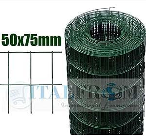 ROTOLO 25mt RECINZIONE RETE METALLICA ZINCATA PLASTIFICATA - MAGLIA:mm75X50 -DIAMETRO FILO:mm2,2 - ALTEZZA RETE: 100 cm