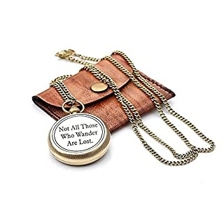 Not all Those Necklace Compass w/Chain and Leather Pouch by Roorkee Instruments India