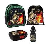 Dinosaurier Dino T-Rex 4 Teile Rucksack Tasche Kindergarten Set Brotdose Flasche mit Sticker von Kids4shop