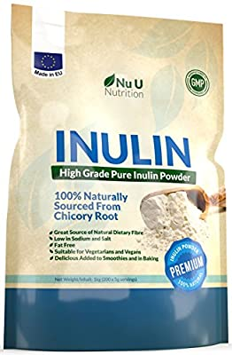Inulin High Grade Prebiotic Fibre Powder 1kg made in EU from all Natural Chicory Root (Fructo Oligo Saccharide (FOC)) in Resealable Pouch by Nu U Nutrition by Nu Nutrition