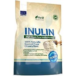 Inulin hochgradiges prebiotisches Ballaststoff Pulver 1kg hergestellt in EU aus natürlichen Chicorée Wurzeln (Fructo-Oligosaccharide (FOS)) in einer wiederverschließbaren Verpackung von Nu U Nutrition