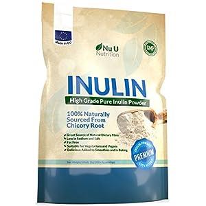 Inulin hochgradiges prebiotisches Ballaststoff Pulver 1kg | Hergestellt in EU aus natürlichen Chicorée Wurzeln (Fructo-Oligosaccharide (FOS)) | in einer wiederverschließbaren Verpackung