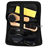 #3: Alcoa Prime High Quality 6 Pieces Professional Shoe Care Tool Black & Neutral Shoe Shine Polish Cleaning Smooth Wooden Brushes Set