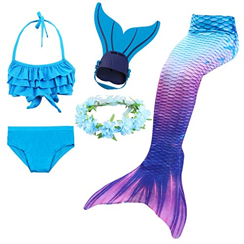 Schwimmen Set (Mädchen Meerjungfrau Schwanz Badeanzug - Prinzessin Cosplay Bademode für das Schwimmen mit Bikini Set und Monoflosse, 4 Stück Set)