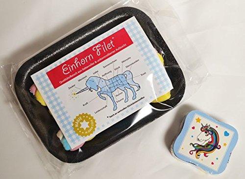 Preisvergleich Produktbild #3304 Geschenkset EINHORN : Einhorn Filet Mellow Regenbogen-Speckseile, ca. 30 gr., Magisches Handtuch Einhorn ca. 30x30 cm