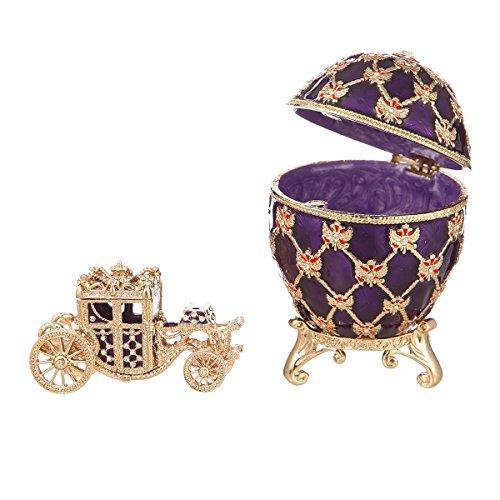 Fabergé-Stil Ei / Schmuckkästchen mit Kutsche & Doppelköpfiger Adler 9,5 cm violett