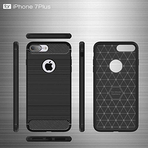 Coque iPhone 6 Plus, MSK® Coque iPhone 6S Plus Fibres de Carbone TPU Anti Choc Housse Etui Premium Coque Anti Poussiere Shock Absorption Cover Case Pour Apple iPhone 6 Plus/6S Plus (Gris) Rouge