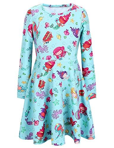 Mädchen A-linie Kleid (Jxstar Mädchen A-Linie Kleid Gr. 8 Jahre, Mermaid Fall)